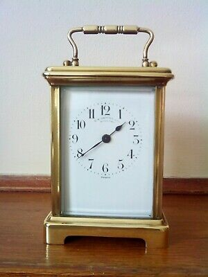 Antique French Brass Carriage Clock Timepiece In Original Box Excellent...