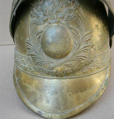 "France, Rare Antique French Fire Brigade Brass Helmet 19c.""Pompiers De Apremont"""