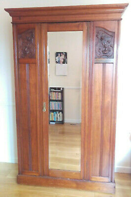 Antique Mahogany Wardrobe with Carved panels and mirror door - good condition