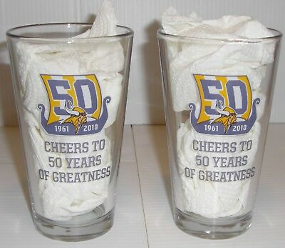 2 NFL Miller Lite MN Vikings 50 Years Of Greatness Beer Glasses