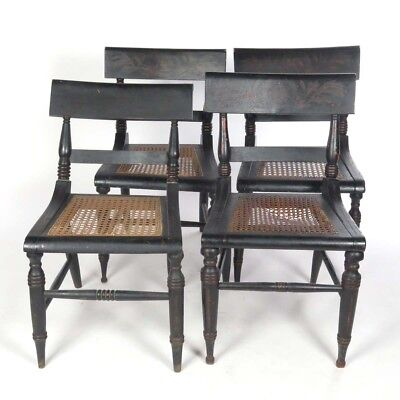 Antique caned seat side chairs black paint eagle motif 4