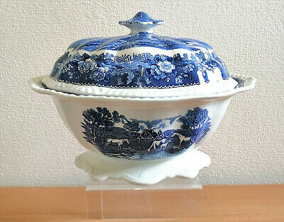 Large Adams Micratex Lidded Soup Tureen, English Scenic Blue & White Horses