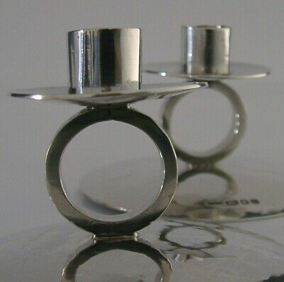 English Modernist Solid Silver Candlesticks Planished London 1982 Contemporary