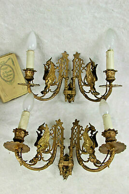 Antique French bronze Gothic Castle Dragon piano Wall lights sconces