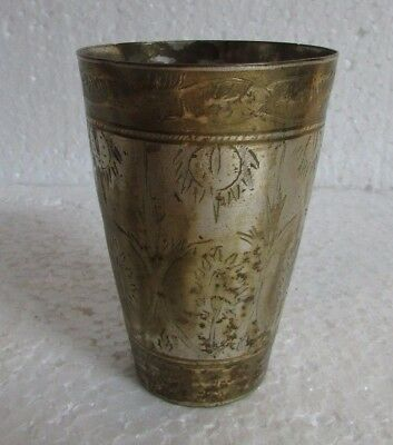 Indian Vintage Brass Handcrafted Indian lassi & milk Glass Goblet.  Collectible
