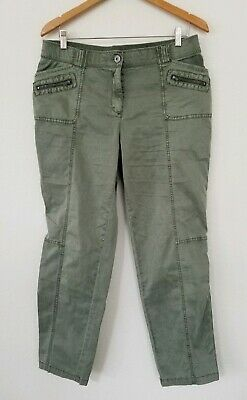 Chicos pants 1.5 large army green straight CARGO stretch cotton pockets zippers
