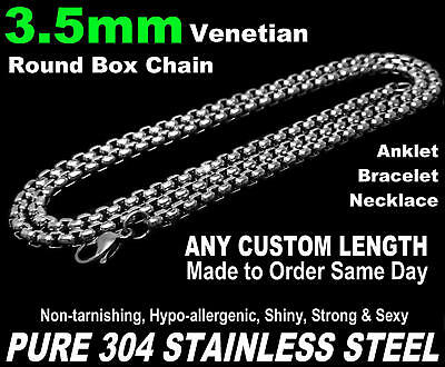 """3.5mm Venetian Round Box Chain Necklace Pure Stainless Steel 7""""-50"""" Long Custom"""
