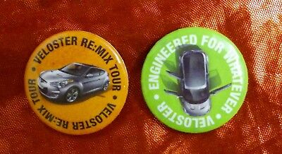 Set of 2 Veloster Pins Hyundai Engineered for Whatever, Re-Mix Tour