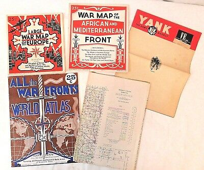 Vintage Lot of 4 Maps 1940's WWII & Yank The Army Weekly June 1945 Sold Together
