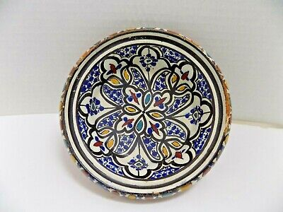 Vtg Moroccan Safi Pottery Dish Arabic Middle Eastern Hand Painted Ceramic Bowl