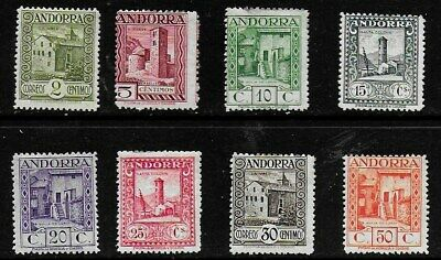 Andorra (Spanish) 1929 Pictorials - SS to 50c - includes key 30c value - MH