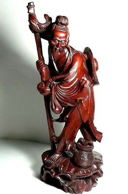 """Antique Early Chinese Hand Carved Wood Sculpture Fisherman Collectible 15"""" High"""
