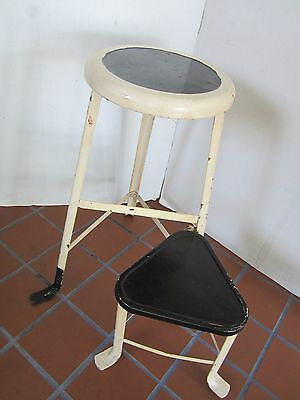"""Industrial Age Metal Stool SWIVEL STEP SEAT Chair Kitchen USA 1940's 23.5"""" tall"""