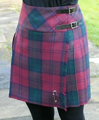 Ladies Authentic Shetland Wool Mini Kilt Classic Lindsay Tartan TG0801