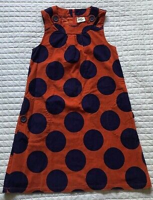 Mini Boden Orange/Purple Polka Dot Corduroy Dress Girls Sz. 11/12