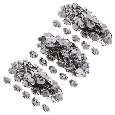 100pcs Silver Tone Round Glue on Pad Back Pin Brooch 20~30mm Findings