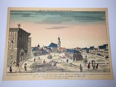 "Vintage French Art Print ""A Paris Che Basset Rue S. Jacques A We Genevieve""RARE!"
