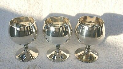 Vintage Silver Plated A.E WILLIAMS & SONS  Falstaff England  3 Brandy Goblets,