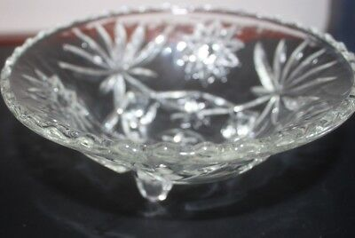 Vintage Round Clear Cut Glass Footed Serving Bowl Star / Flower Scalloped Edge