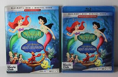 Little Mermaid 2 3 Disney Movie Club Exclusive Blu Ray DVD Slipcover AND DIGITAL