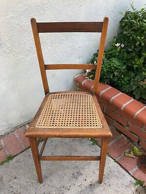 Antique Childs Cane Wood Chair