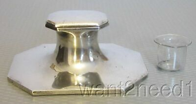antique ENGLISH STERLING INKWELL London silver hallmark original glass liner