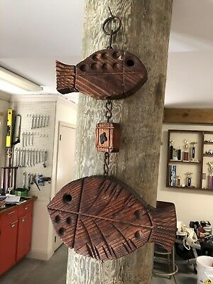 Vtg 60s Carved Wood Sculptural Fish Wall Hanging Retro Mid Century Modern