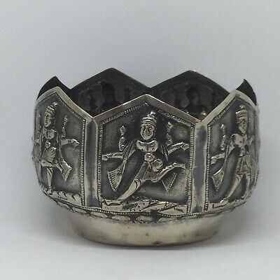 Indian Silver Bowl Madras - Lotus Style Seven Swami Repousse Dance Panels - 78g