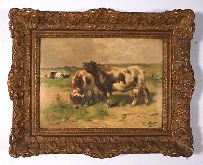 Antique Oil on Canvas Painting with Cows by Henry Schouten (1864-1927)