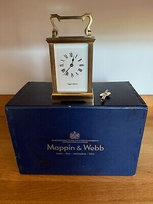 Mappin and Webb Ltd vintage brass carriage clock With original box.