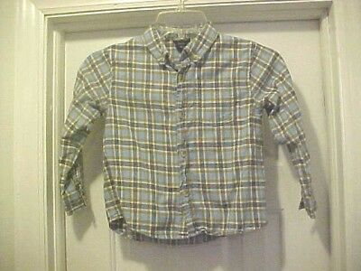 Blue Plaid Flannel Shirt By Cherokee Boys Size 5T 100% Cotton Long Sleeves