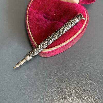 Antique Victorian Sterling Silver Mechanical Pencil Fob Charm Pendant Necklace