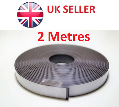 Self Adhesive Magnetic Tape Sticky Backed Magnet Strip 2m x 12.7mm - Strong