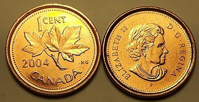 (Lot of 2)  2004 Non-Magnetic & Magnetic Zinc/Steel Canada 1 Cent Penny Coin AU