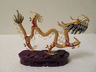 Vrg Chinese Replica? Cloisonne Gold Metal Dragon Figurine Base w Box Smithsonian