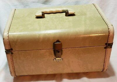 d5ccd0e878 Vintage Mid Century Maximillian Maxonite Luggage Train Case Marbleized  Beige HTF