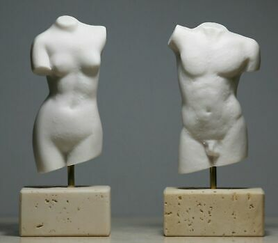 Set Nude Female & Male Body Torso Greek Statue Sculpture Erotic Art 5.1 in