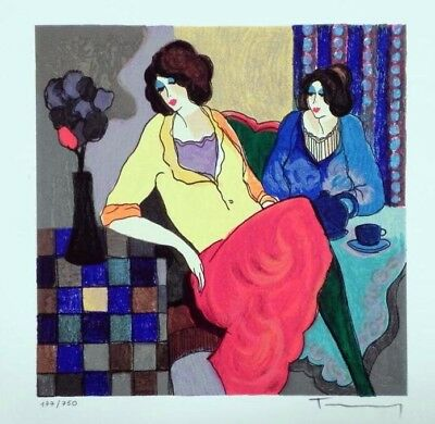 """Tarkay Itzchak Limited Edition Original Serigraph """"Sisters"""" HAND SIGNED Numbered"""