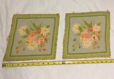 Set of 2 Completed Floral Needlepoint Canvas Pillow / Picture - ESTATE FIND