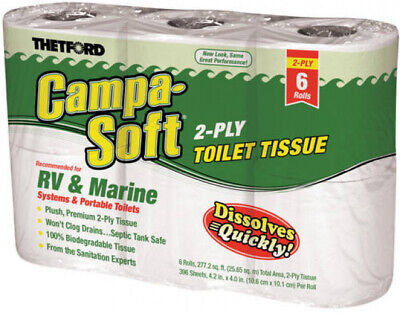 Thetford Campa RV and Marine Toilet Paper, 6 Rolls