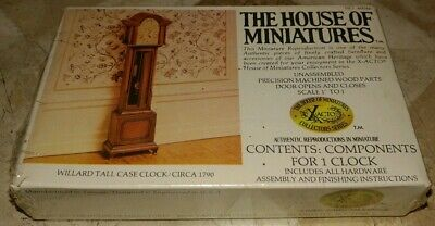 Rare The House Of Miniatures Willard Tall Case Clock Kit, Antique Replica 40046