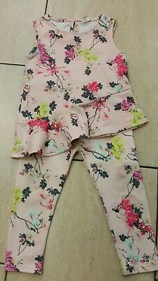 River Island Girl Age 2-3 years pink Floral scuba Outfit top & trouser set