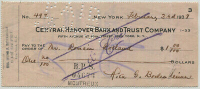 1937 French Writer and Nobel Prize Recipient Romain Rolland Endorsed Check
