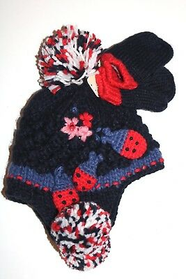 Next Soft Navy Blue Ladybird Knitted Bobble Hat Mittens Set Girls 1-2 Years -New