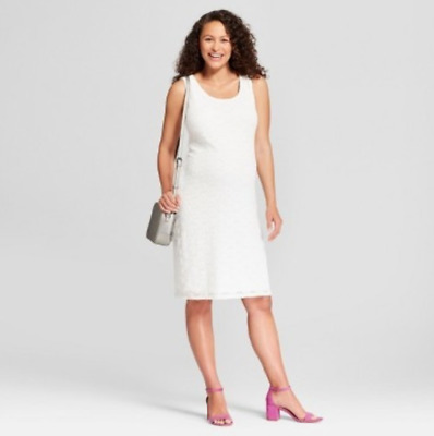 af5a35807a60a Small - Maternity Sleeveless Lace Tank Dress - Isabel Maternity - White