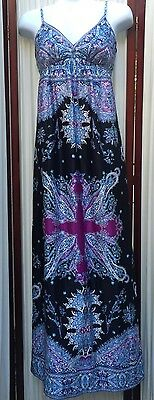 Eci New York Long Black Multi Color Dress Sz 4 EUC