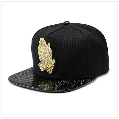 c925997fa3e Black Praying Hands 18k Gold Luxury Hip Hop Fashion Drake 6 GOD Snapback Hat  Cap