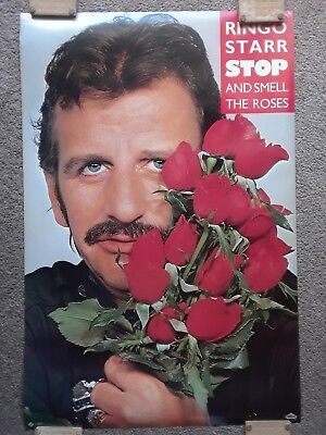 THE BEATLES RINGO STARR STOP AND SMELL THE ROSES 1981 PROMOTIONAL POSTER! 23x35