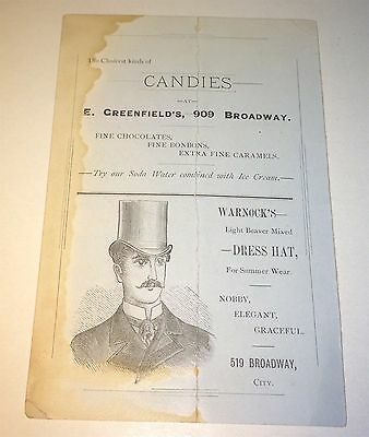 Rare Antique Victorian American Advertising Candies, Ice Cream, Hats Trade Card!