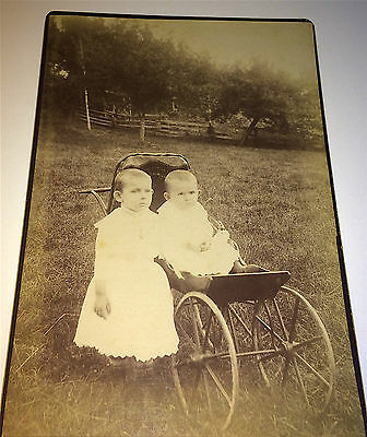 Antique Outdoor Victorian Children in Carriage & Stroller! Fence! Cabinet Photo!